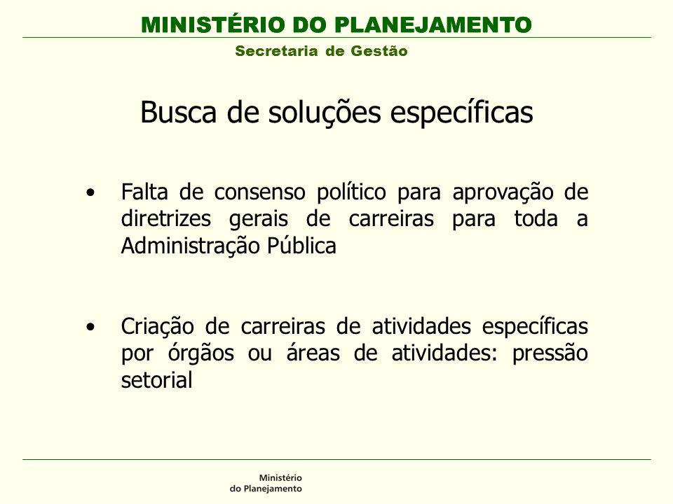 MINISTÉRIO DO PLANEJAMENTO Secretaria de Gestão MINISTÉRIO DO PLANEJAMENTO Busca de soluções específicas Falta de consenso político para aprovação de