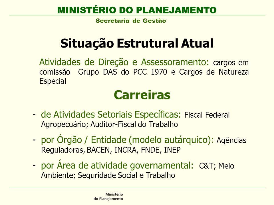 MINISTÉRIO DO PLANEJAMENTO Secretaria de Gestão MINISTÉRIO DO PLANEJAMENTO Situação Estrutural Atual Atividades de Direção e Assessoramento: cargos em