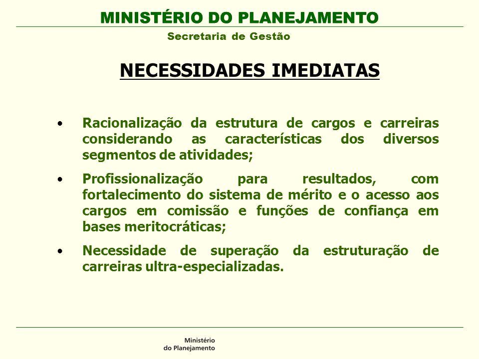 MINISTÉRIO DO PLANEJAMENTO Secretaria de Gestão MINISTÉRIO DO PLANEJAMENTO NECESSIDADES IMEDIATAS Racionalização da estrutura de cargos e carreiras co