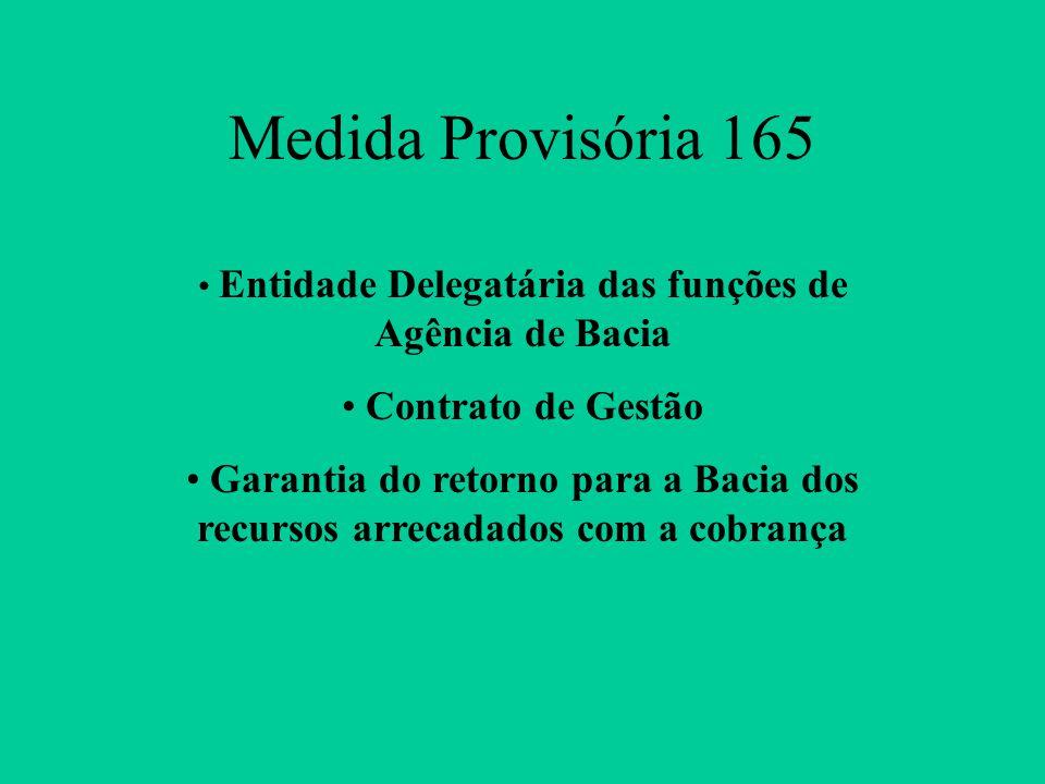 Medida Provisória 165 Entidade Delegatária das funções de Agência de Bacia Contrato de Gestão Garantia do retorno para a Bacia dos recursos arrecadados com a cobrança