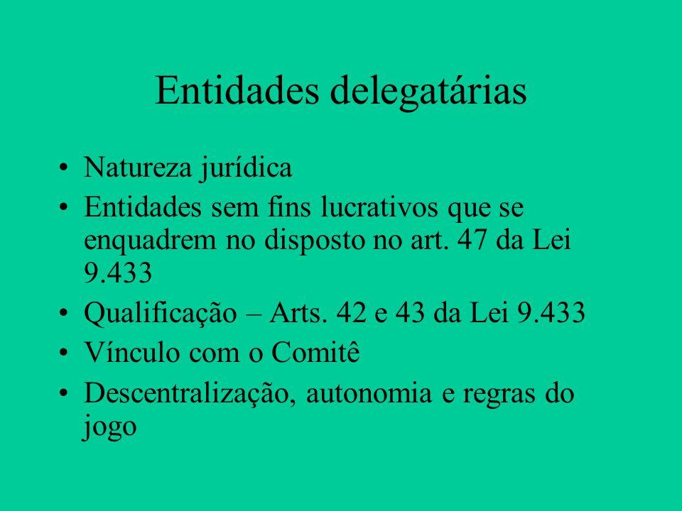Entidades delegatárias Natureza jurídica Entidades sem fins lucrativos que se enquadrem no disposto no art.