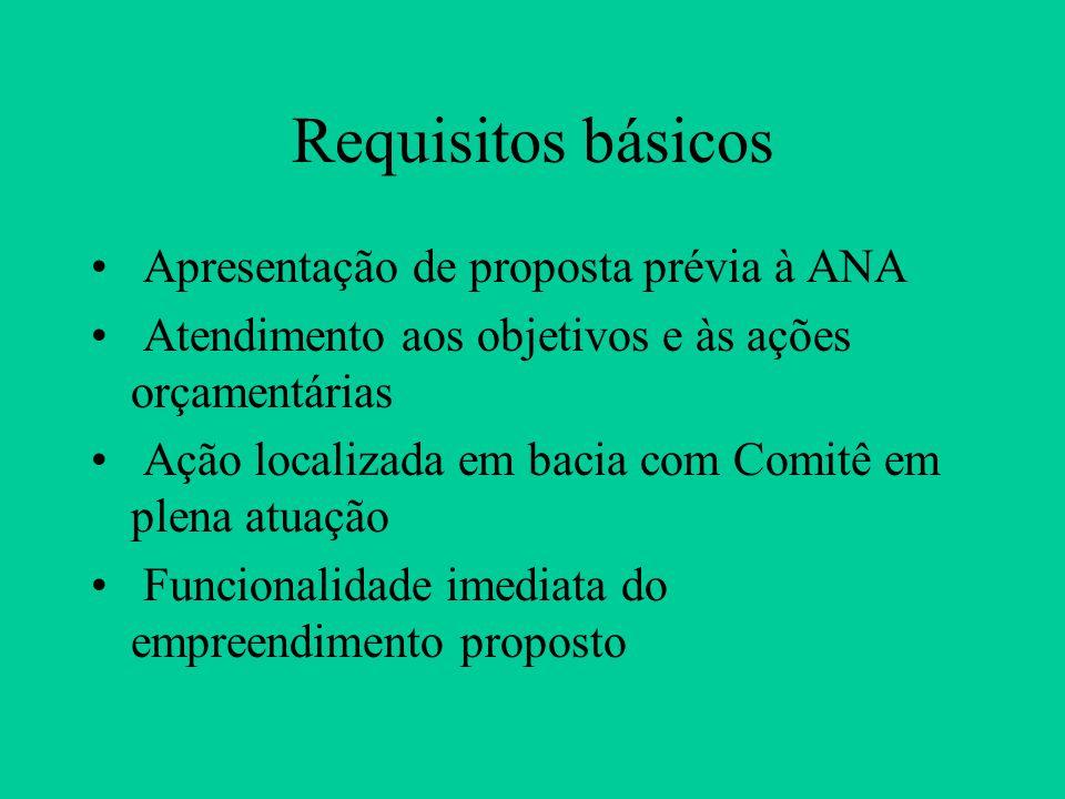 Requisitos básicos Apresentação de proposta prévia à ANA Atendimento aos objetivos e às ações orçamentárias Ação localizada em bacia com Comitê em plena atuação Funcionalidade imediata do empreendimento proposto