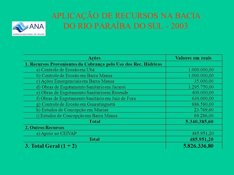 Valores em Reais Arrecadado5.874.995,76 Aplicado5.826.336,80 VALORES ARRECADADOS E APLICADOS NA BACIA DO RIO PARAÍBA DO SUL- 2003