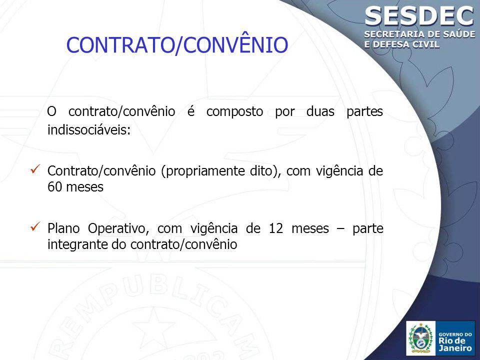 CONTRATO/CONVÊNIO O contrato/convênio é composto por duas partes indissociáveis: Contrato/convênio (propriamente dito), com vigência de 60 meses Plano Operativo, com vigência de 12 meses – parte integrante do contrato/convênio
