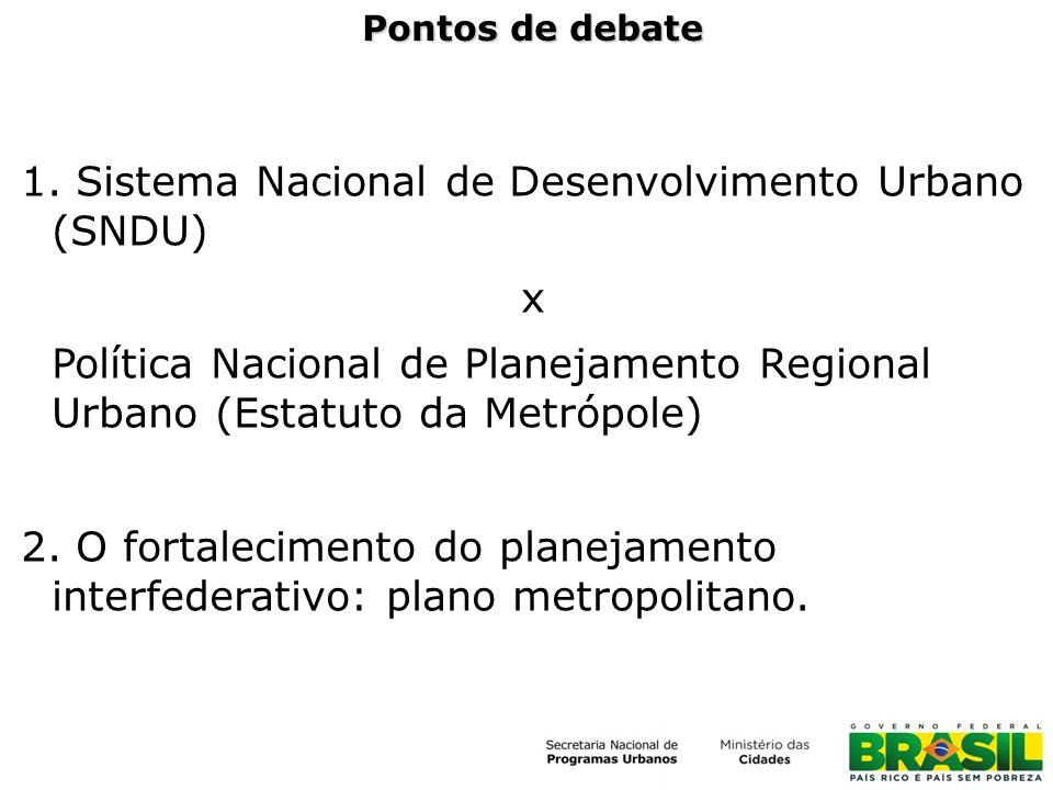 Pontos de debate 1. Sistema Nacional de Desenvolvimento Urbano (SNDU) x Política Nacional de Planejamento Regional Urbano (Estatuto da Metrópole) 2. O
