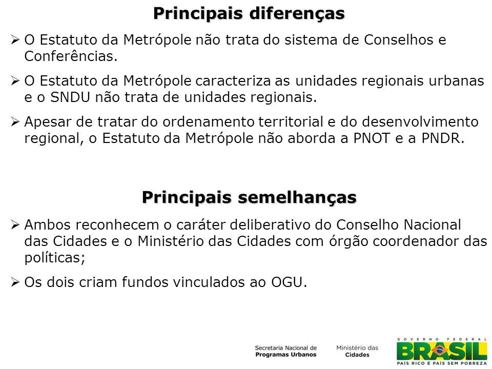 Principais diferenças O Estatuto da Metrópole não trata do sistema de Conselhos e Conferências. O Estatuto da Metrópole caracteriza as unidades region