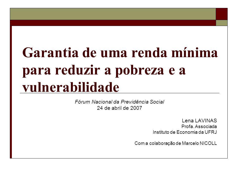 Garantia de uma renda mínima para reduzir a pobreza e a vulnerabilidade Fórum Nacional da Previdência Social 24 de abril de 2007 Lena LAVINAS Profa.