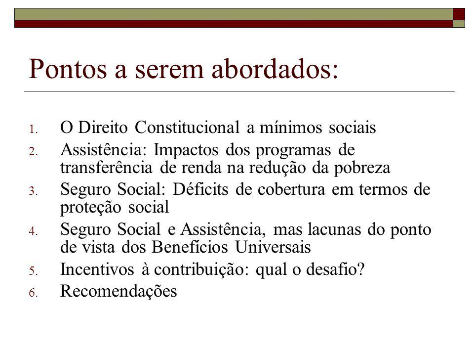 Pontos a serem abordados: 1. O Direito Constitucional a mínimos sociais 2.