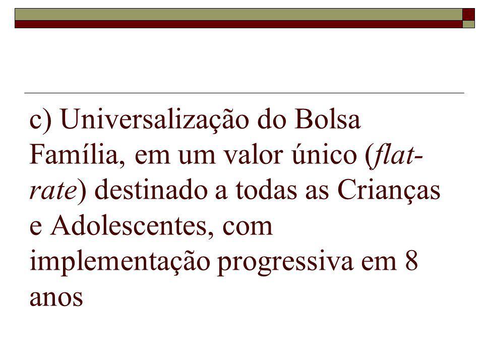 c) Universalização do Bolsa Família, em um valor único (flat- rate) destinado a todas as Crianças e Adolescentes, com implementação progressiva em 8 anos