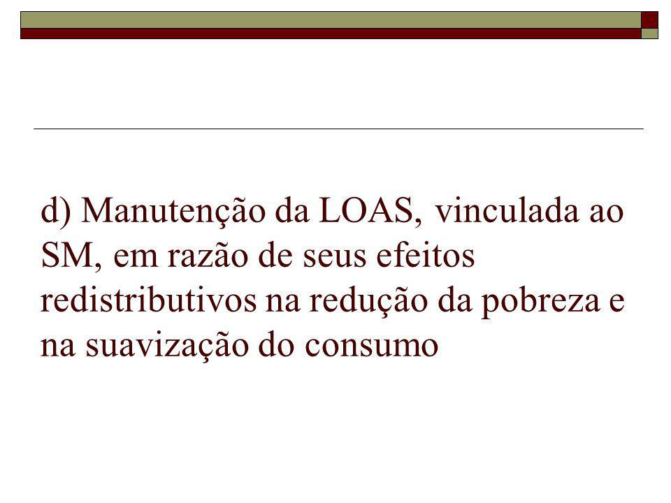 d) Manutenção da LOAS, vinculada ao SM, em razão de seus efeitos redistributivos na redução da pobreza e na suavização do consumo