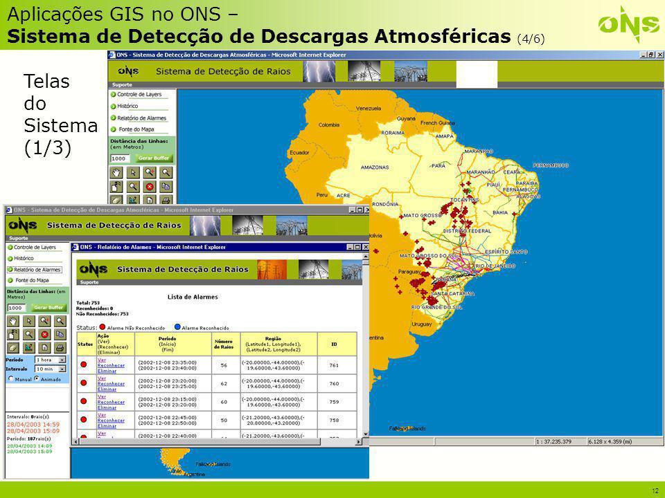 12 Aplicações GIS no ONS – Sistema de Detecção de Descargas Atmosféricas (4/6) Telas do Sistema (1/3)