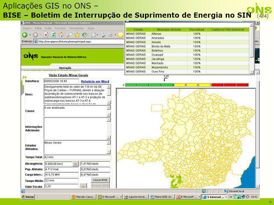 18 Aplicações GIS no ONS – BISE – Boletim de Interrupção de Suprimento de Energia no SIN (4/4)