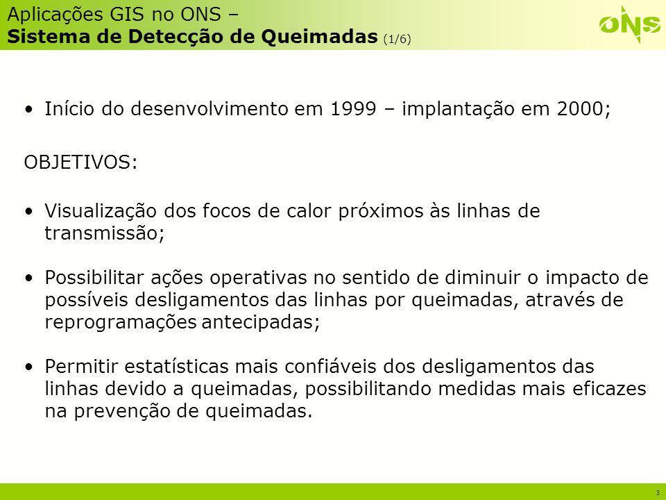 3 Aplicações GIS no ONS – Sistema de Detecção de Queimadas (1/6) Início do desenvolvimento em 1999 – implantação em 2000; OBJETIVOS: Visualização dos