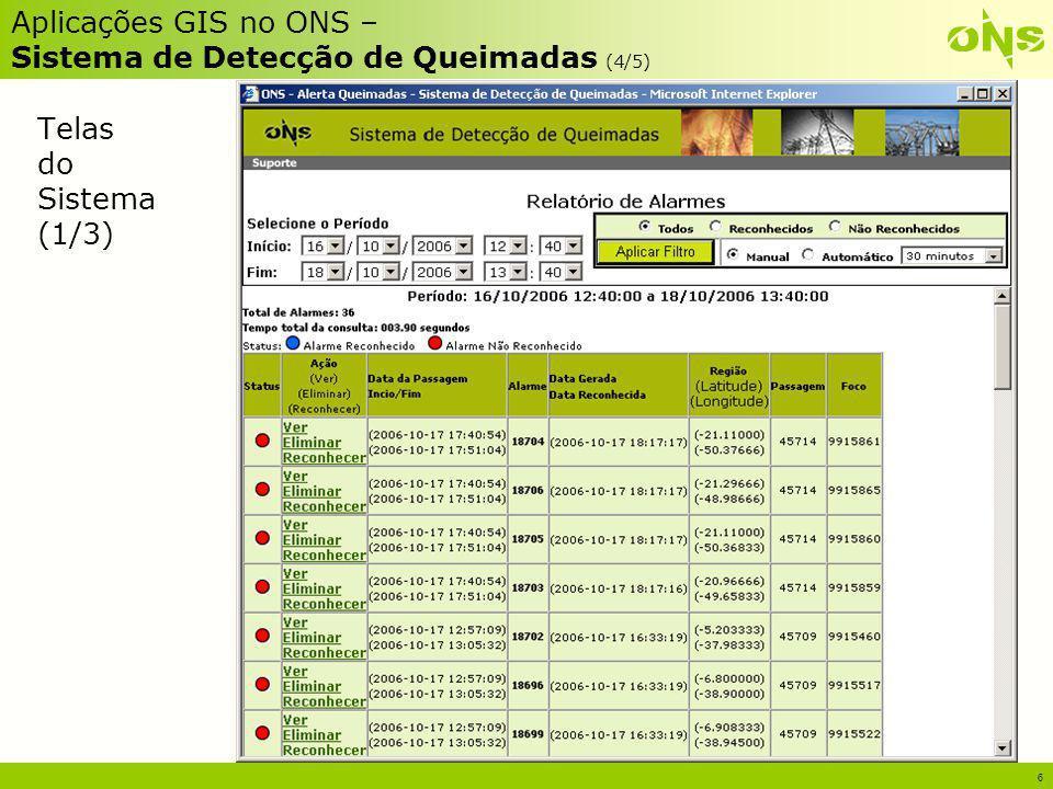 6 Aplicações GIS no ONS – Sistema de Detecção de Queimadas (4/5) Telas do Sistema (1/3)