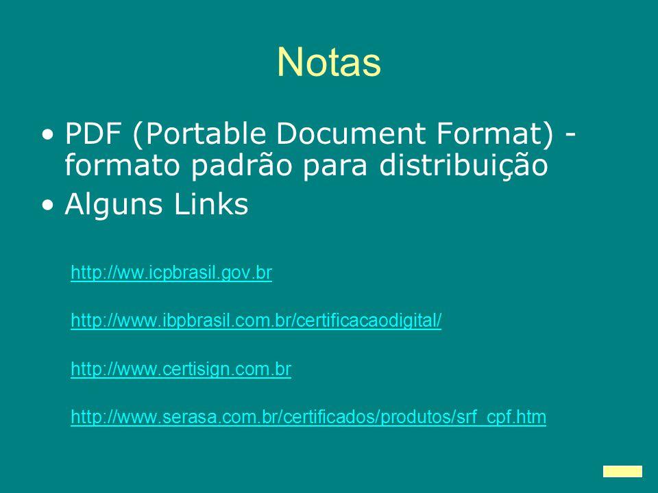 Notas PDF (Portable Document Format) - formato padrão para distribuição Alguns Links http://ww.icpbrasil.gov.br http://www.ibpbrasil.com.br/certificacaodigital/ http://www.certisign.com.br http://www.serasa.com.br/certificados/produtos/srf_cpf.htm