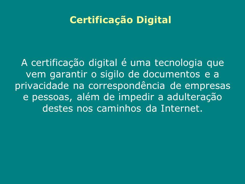 A certificação digital é uma tecnologia que vem garantir o sigilo de documentos e a privacidade na correspondência de empresas e pessoas, além de impe