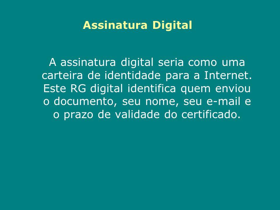 A assinatura digital seria como uma carteira de identidade para a Internet. Este RG digital identifica quem enviou o documento, seu nome, seu e-mail e