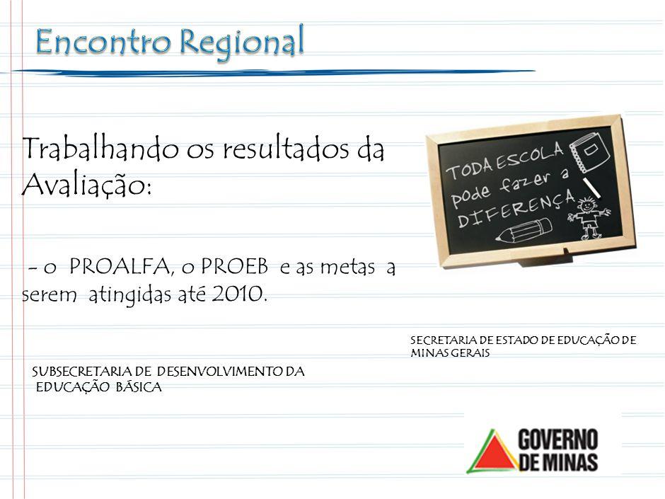 Trabalhando os resultados da Avaliação: - o PROALFA, o PROEB e as metas a serem atingidas até 2010.