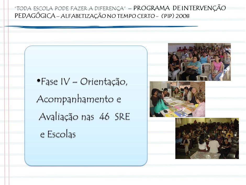 Fase IV – Orientação, Acompanhamento e Avaliação nas 46 SRE e Escolas Fase IV – Orientação, Acompanhamento e Avaliação nas 46 SRE e Escolas TODA ESCOLA PODE FAZER A DIFERENÇA – PROGRAMA DE INTERVENÇÃO PEDAGÓGICA – ALFABETIZAÇÃO NO TEMPO CERTO - (PIP) 2008