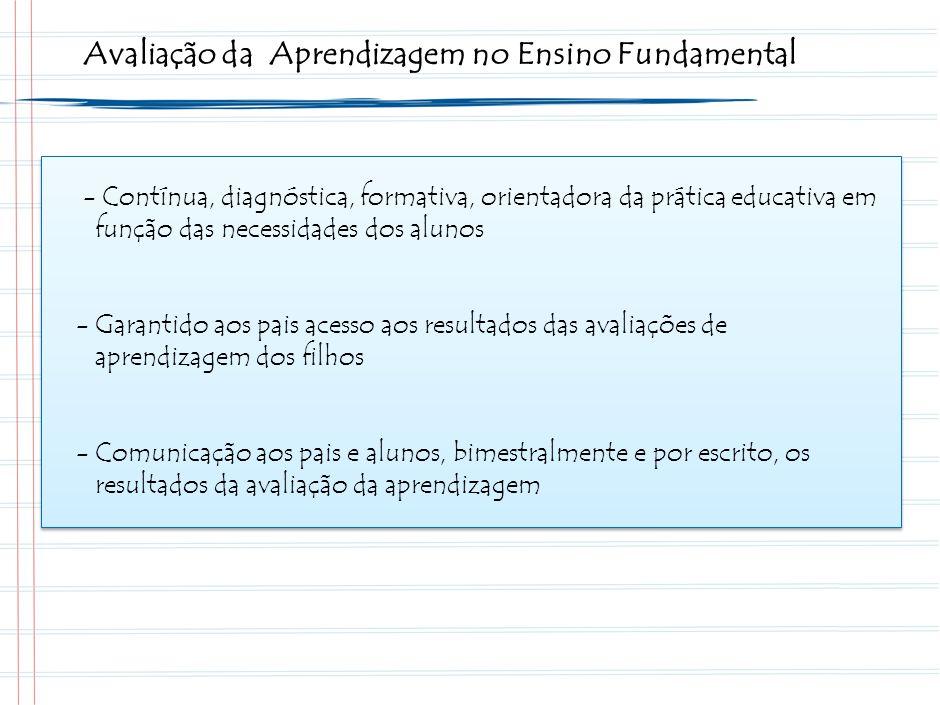 Avaliação da Aprendizagem no Ensino Fundamental - Contínua, diagnóstica, formativa, orientadora da prática educativa em função das necessidades dos alunos -Garantido aos pais acesso aos resultados das avaliações de aprendizagem dos filhos -Comunicação aos pais e alunos, bimestralmente e por escrito, os resultados da avaliação da aprendizagem
