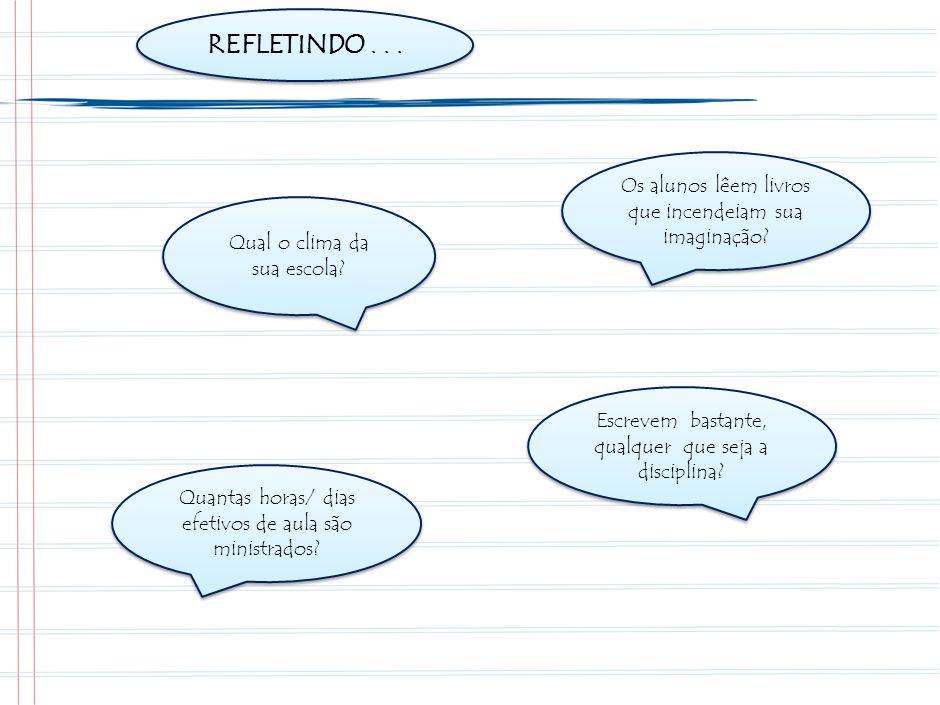 REFLETINDO...Quanto tempo os alunos passam ouvindo o professor falar ou ditar.