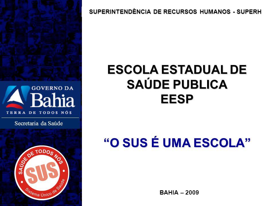 Secretaria da Saúde ESCOLA ESTADUAL DE SAÚDE PUBLICA EESP O SUS É UMA ESCOLA BAHIA – 2009 SUPERINTENDÊNCIA DE RECURSOS HUMANOS - SUPERH