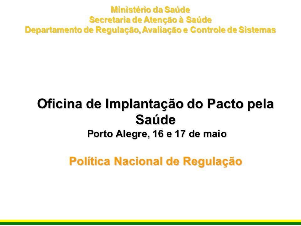 Oficina de Implantação do Pacto pela Saúde Porto Alegre, 16 e 17 de maio Política Nacional de Regulação Ministério da Saúde Secretaria de Atenção à Sa