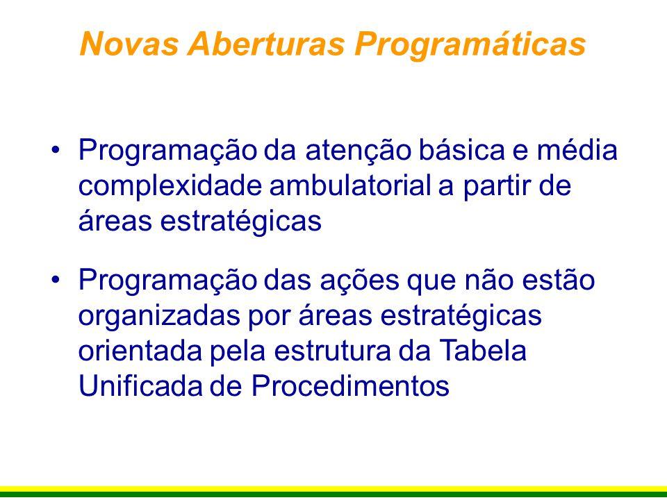 Programação da atenção básica e média complexidade ambulatorial a partir de áreas estratégicas Programação das ações que não estão organizadas por áre