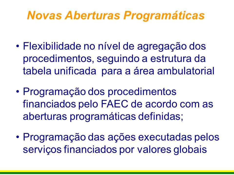 Flexibilidade no nível de agregação dos procedimentos, seguindo a estrutura da tabela unificada para a área ambulatorial Programação dos procedimentos