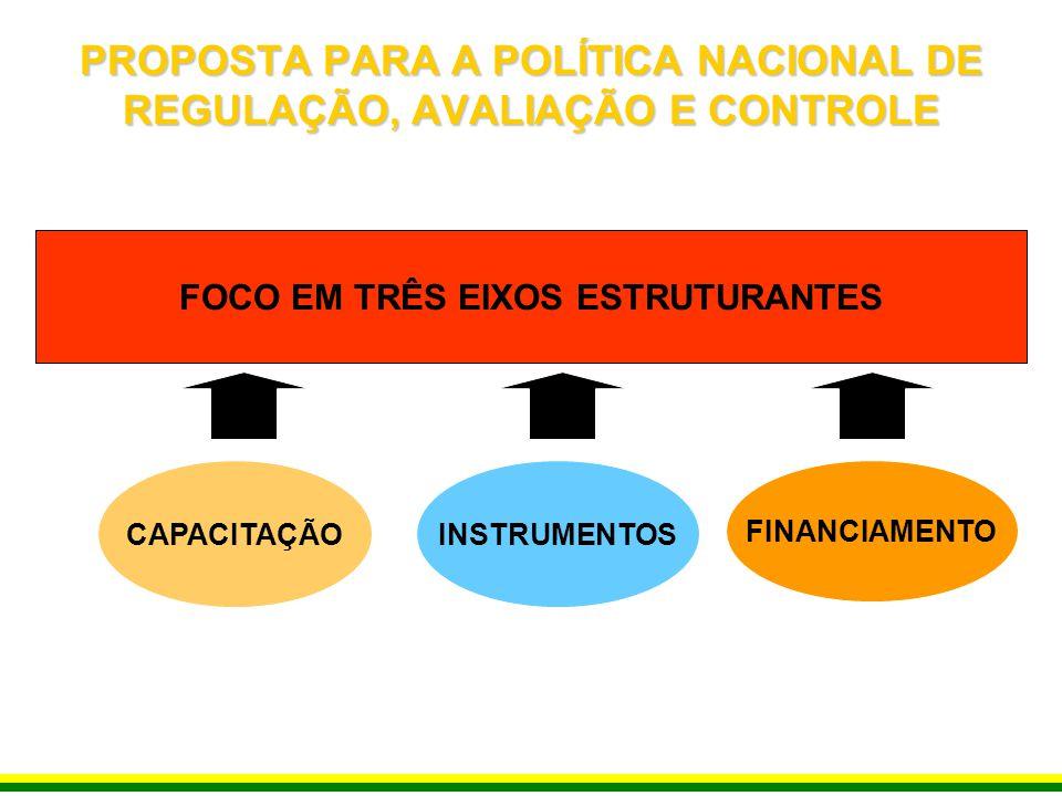 PROPOSTA PARA A POLÍTICA NACIONAL DE REGULAÇÃO, AVALIAÇÃO E CONTROLE FOCO EM TRÊS EIXOS ESTRUTURANTES FINANCIAMENTO INSTRUMENTOSCAPACITAÇÃO