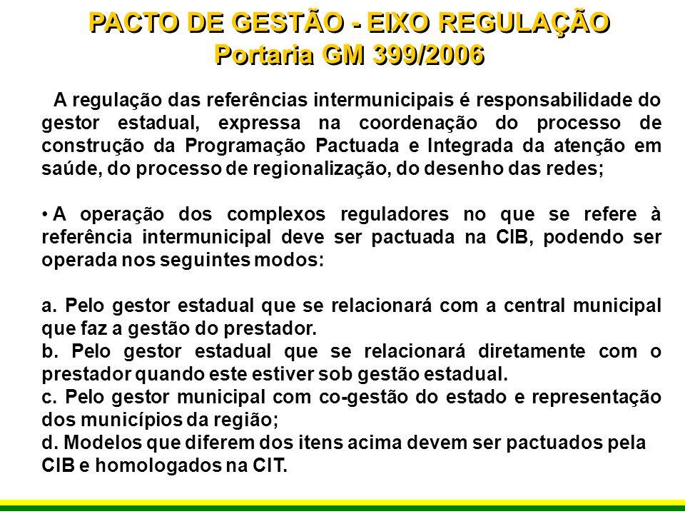 A regulação das referências intermunicipais é responsabilidade do gestor estadual, expressa na coordenação do processo de construção da Programação Pa