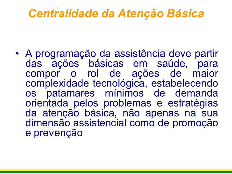 A programação da assistência deve partir das ações básicas em saúde, para compor o rol de ações de maior complexidade tecnológica, estabelecendo os pa