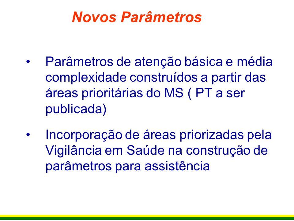 Parâmetros de atenção básica e média complexidade construídos a partir das áreas prioritárias do MS ( PT a ser publicada) Incorporação de áreas priori