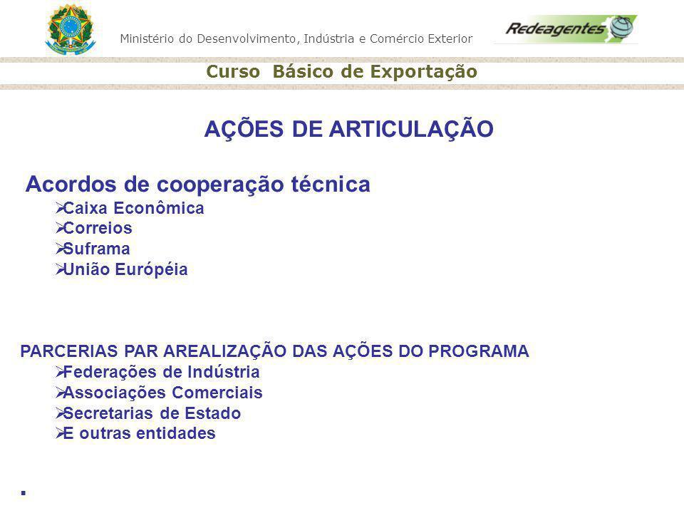 Ministério do Desenvolvimento, Indústria e Comércio Exterior Curso Básico de Exportação AÇÕES DE ARTICULAÇÃO Acordos de cooperação técnica Caixa Econô