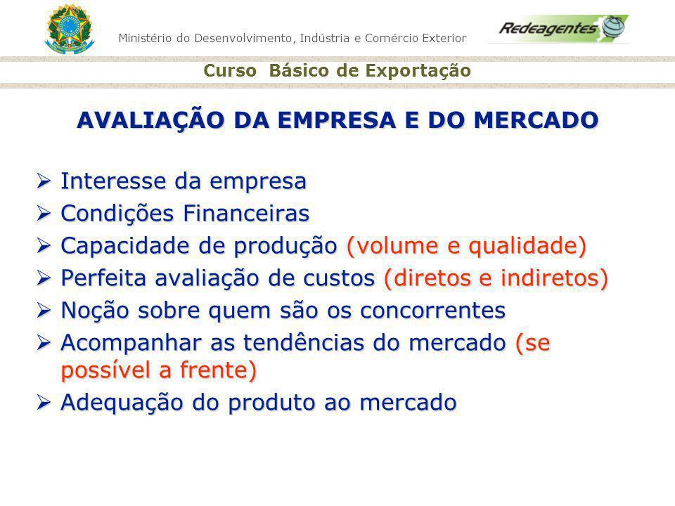 Ministério do Desenvolvimento, Indústria e Comércio Exterior Curso Básico de Exportação AVALIAÇÃO DA EMPRESA E DO MERCADO Interesse da empresa Interes