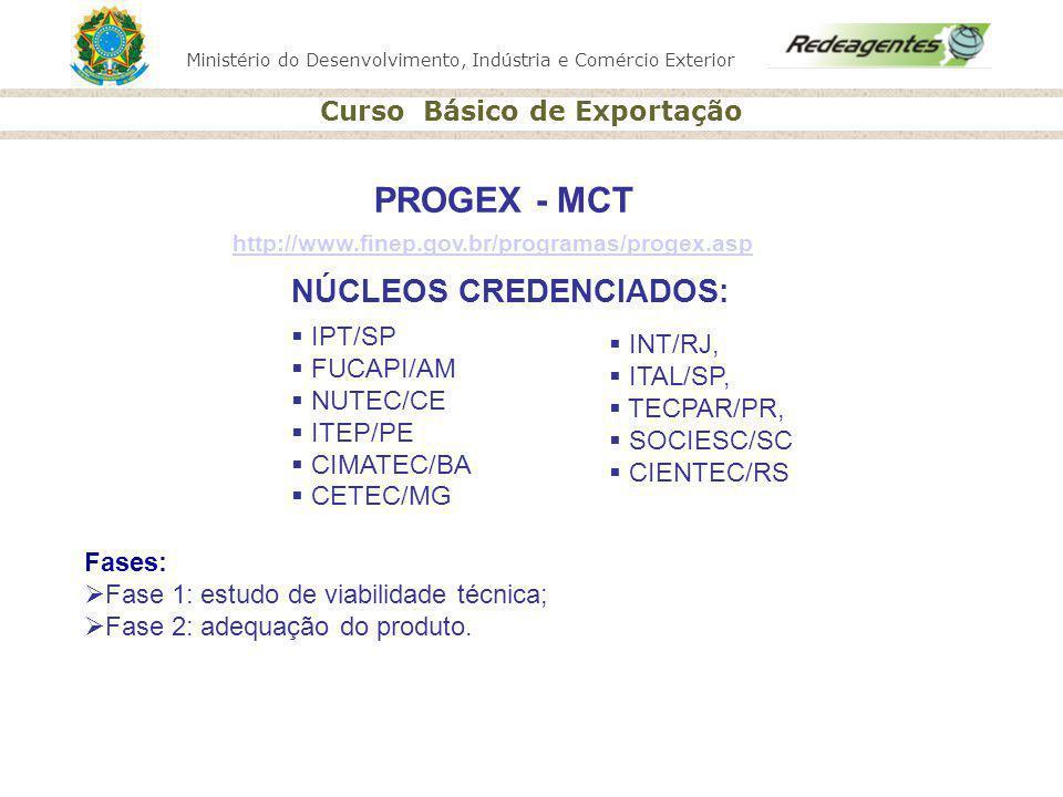 Ministério do Desenvolvimento, Indústria e Comércio Exterior Curso Básico de Exportação PROGEX - MCT NÚCLEOS CREDENCIADOS: IPT/SP FUCAPI/AM NUTEC/CE I