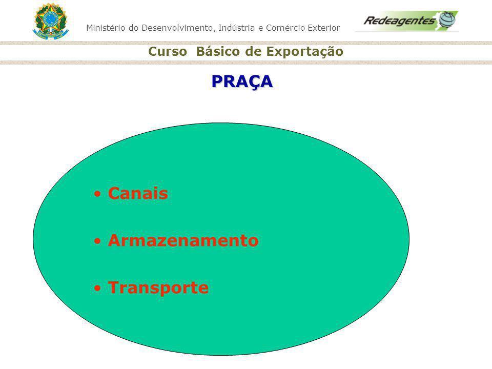 Ministério do Desenvolvimento, Indústria e Comércio Exterior Curso Básico de Exportação PRAÇA Canais Armazenamento Transporte