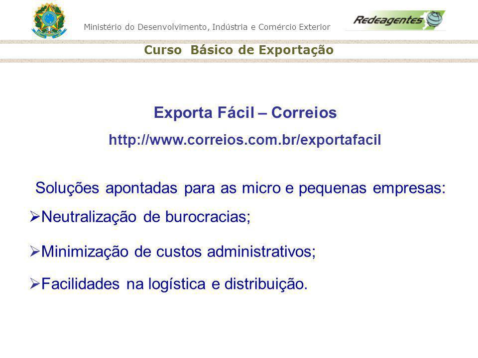 Ministério do Desenvolvimento, Indústria e Comércio Exterior Curso Básico de Exportação Exporta Fácil – Correios http://www.correios.com.br/exportafac