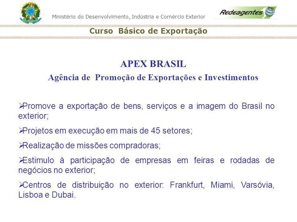 Ministério do Desenvolvimento, Indústria e Comércio Exterior Curso Básico de Exportação APEX BRASIL Agência de Promoção de Exportações e Investimentos