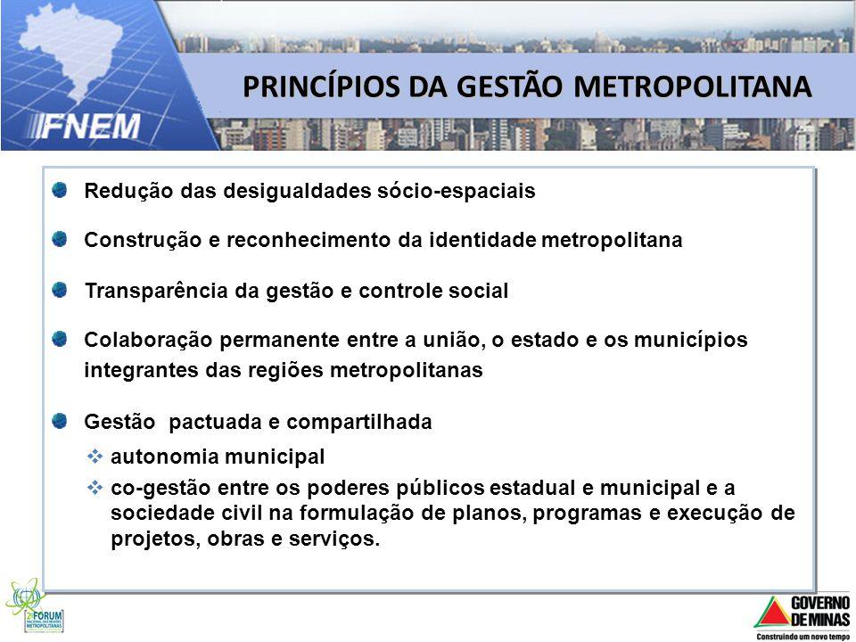 PRINCÍPIOS DA GESTÃO METROPOLITANA Redução das desigualdades sócio-espaciais Construção e reconhecimento da identidade metropolitana Transparência da
