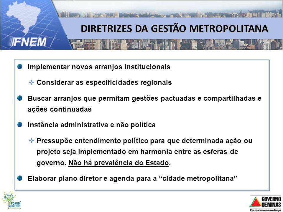 DIRETRIZES DA GESTÃO METROPOLITANA Implementar novos arranjos institucionais Considerar as especificidades regionais Buscar arranjos que permitam gest