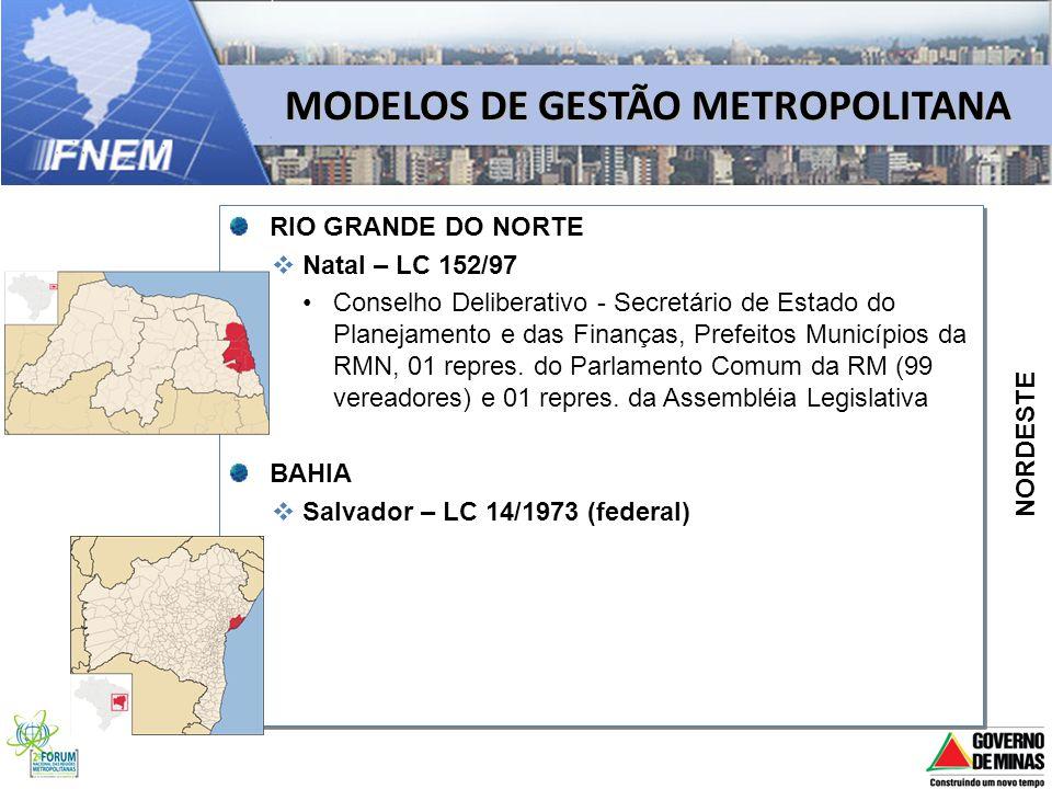 MODELOS DE GESTÃO METROPOLITANA RIO GRANDE DO NORTE Natal – LC 152/97 Conselho Deliberativo - Secretário de Estado do Planejamento e das Finanças, Pre