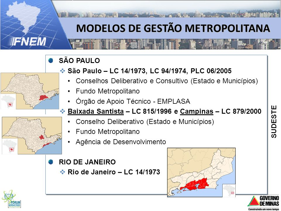 MODELOS DE GESTÃO METROPOLITANA SÃO PAULO São Paulo – LC 14/1973, LC 94/1974, PLC 06/2005 Conselhos Deliberativo e Consultivo (Estado e Municípios) Fu