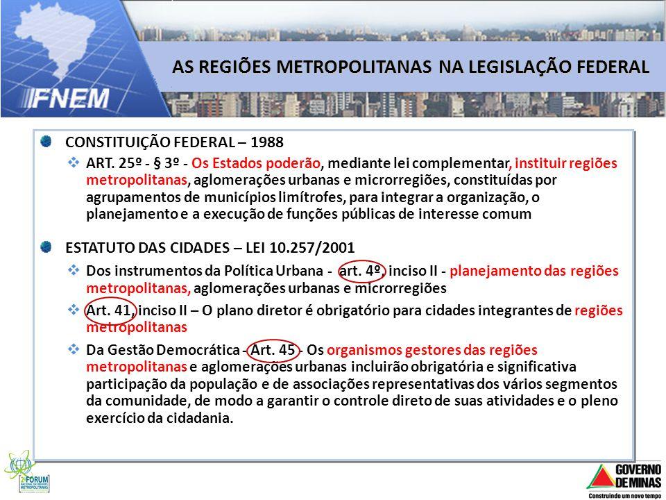 CONSTITUIÇÃO FEDERAL – 1988 ART. 25º - § 3º - Os Estados poderão, mediante lei complementar, instituir regiões metropolitanas, aglomerações urbanas e