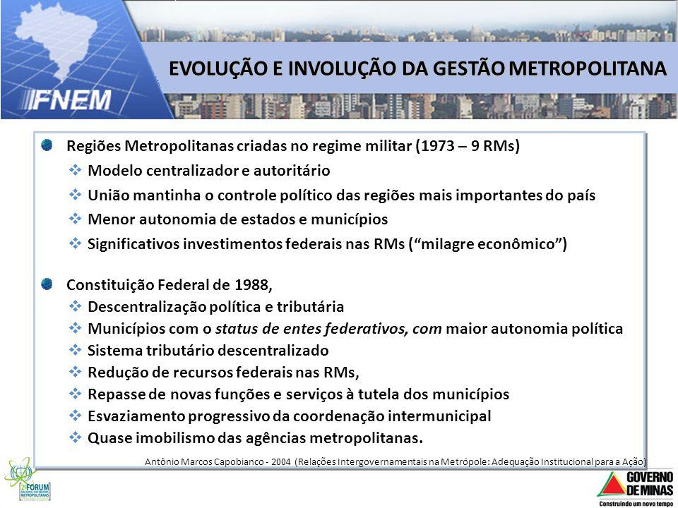 EVOLUÇÃO E INVOLUÇÃO DA GESTÃO METROPOLITANA Regiões Metropolitanas criadas no regime militar (1973 – 9 RMs) Modelo centralizador e autoritário União