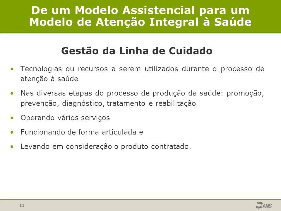 11 De um Modelo Assistencial para um Modelo de Atenção Integral à Saúde Gestão da Linha de Cuidado Tecnologias ou recursos a serem utilizados durante