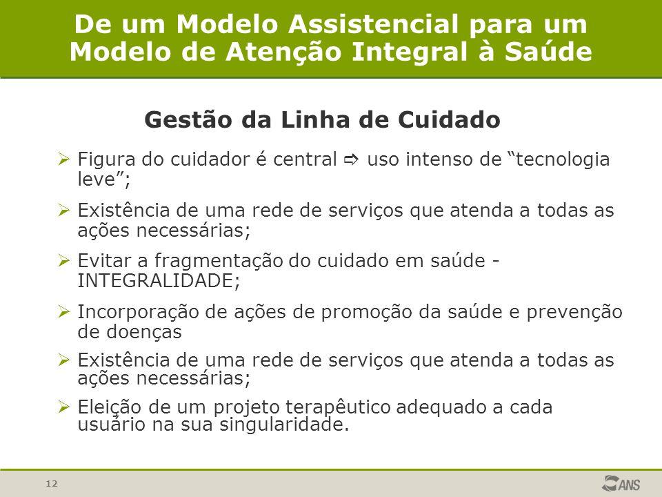 12 De um Modelo Assistencial para um Modelo de Atenção Integral à Saúde Gestão da Linha de Cuidado Figura do cuidador é central uso intenso de tecnolo