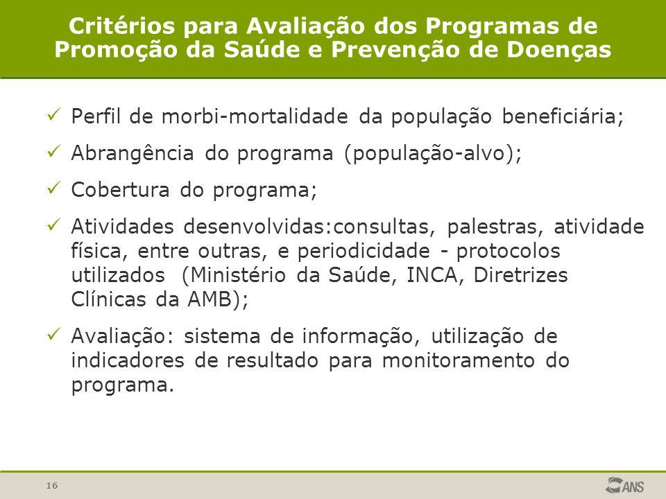 16 Critérios para Avaliação dos Programas de Promoção da Saúde e Prevenção de Doenças Perfil de morbi-mortalidade da população beneficiária; Abrangência do programa (população-alvo); Cobertura do programa; Atividades desenvolvidas:consultas, palestras, atividade física, entre outras, e periodicidade - protocolos utilizados (Ministério da Saúde, INCA, Diretrizes Clínicas da AMB); Avaliação: sistema de informação, utilização de indicadores de resultado para monitoramento do programa.