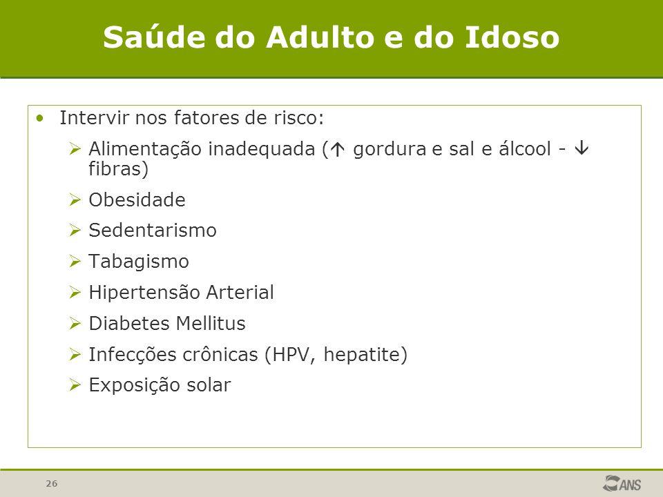 26 Saúde do Adulto e do Idoso Intervir nos fatores de risco: Alimentação inadequada ( gordura e sal e álcool - fibras) Obesidade Sedentarismo Tabagismo Hipertensão Arterial Diabetes Mellitus Infecções crônicas (HPV, hepatite) Exposição solar