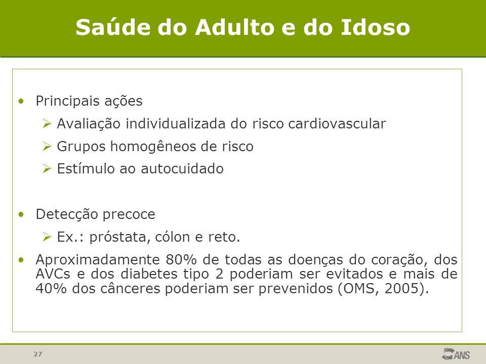 27 Saúde do Adulto e do Idoso Principais ações Avaliação individualizada do risco cardiovascular Grupos homogêneos de risco Estímulo ao autocuidado De